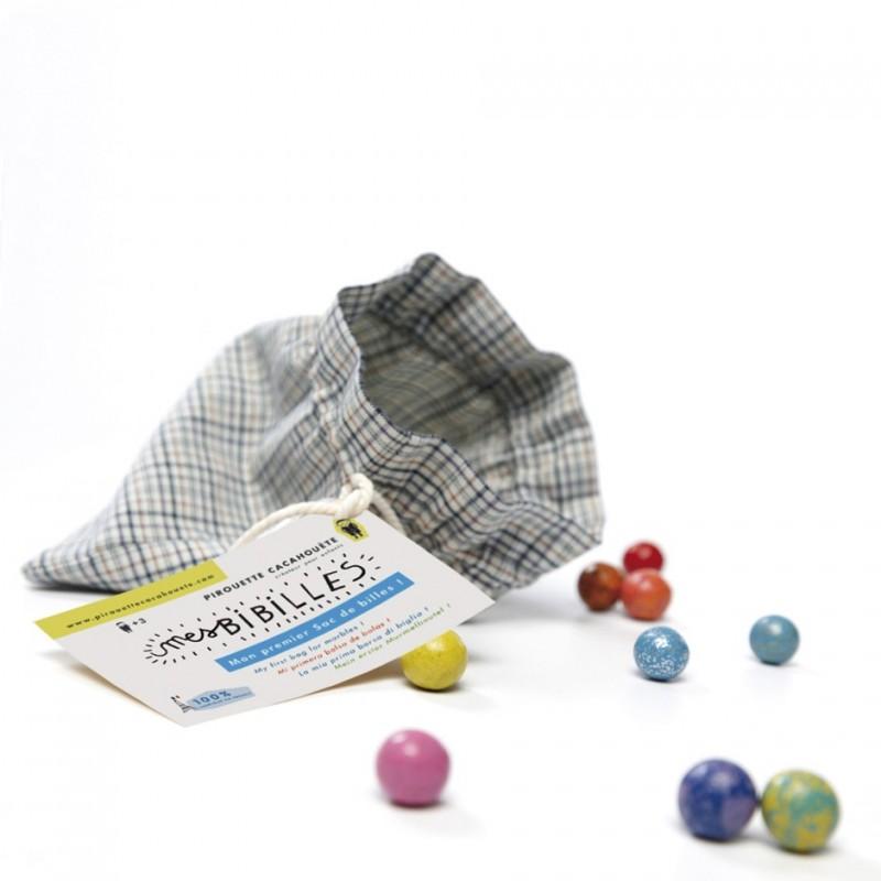 Vintage bag full of earthenware marbles