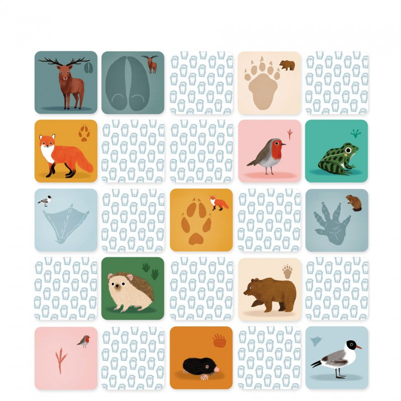 memory game animals footprints