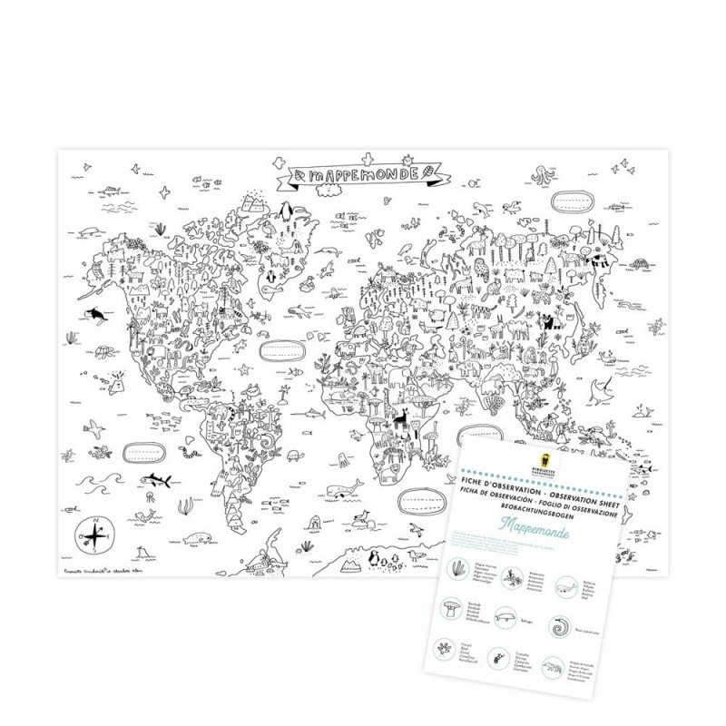 world map colouring poster