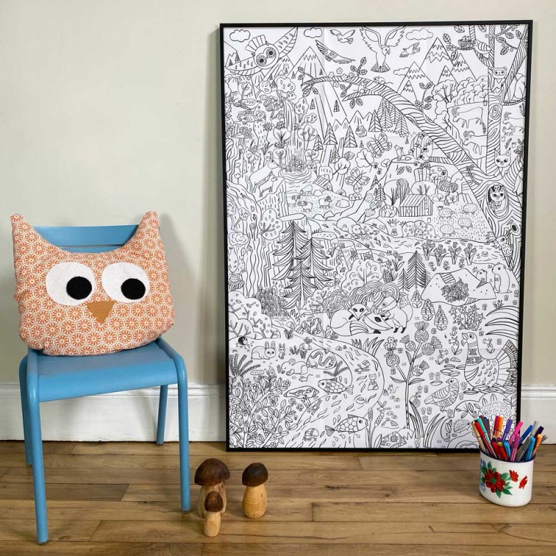 big format coloring poster mountain