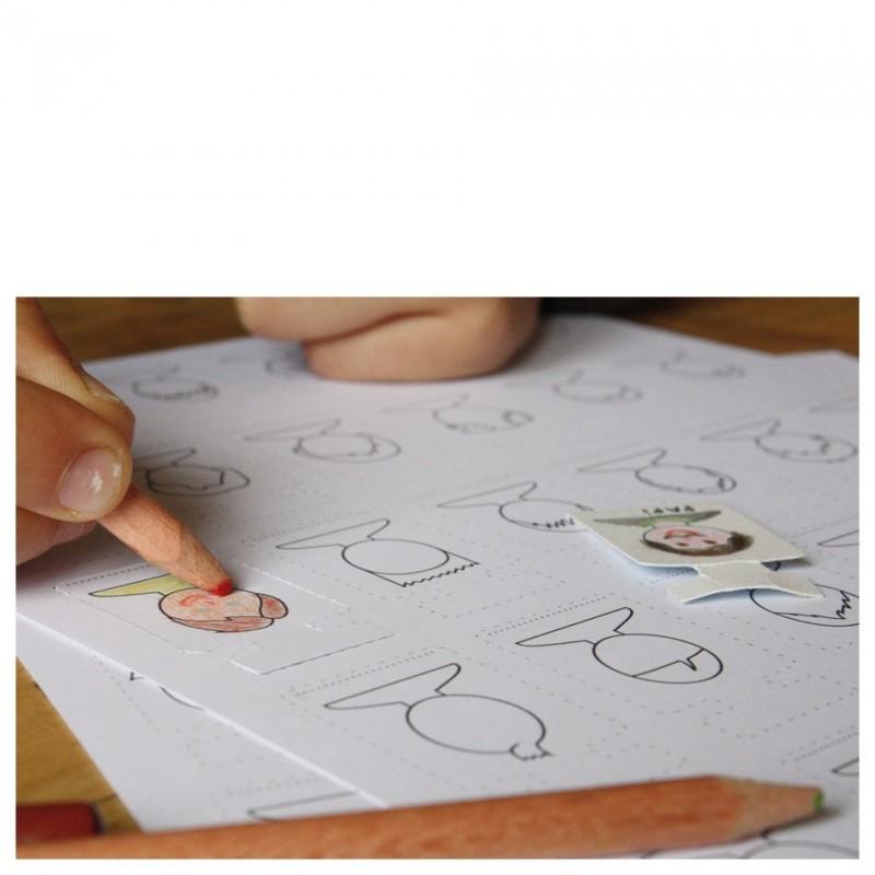 activité manuelle arbre généalogique à composer et colorier