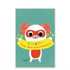 cartes d'invitation super-héro fille