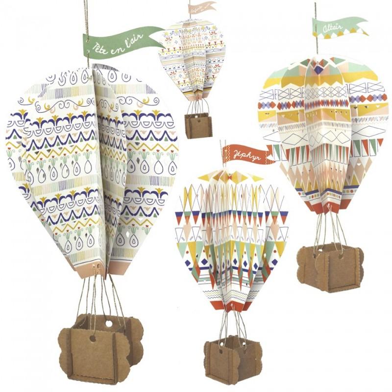 hanging cardboard hot-air balloon