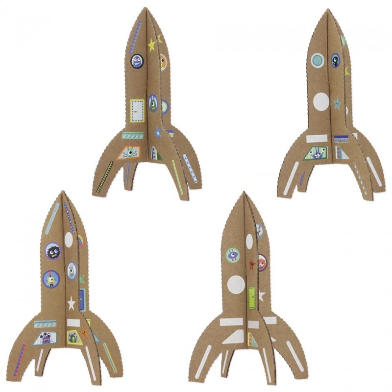 Recycled cardboard rockets