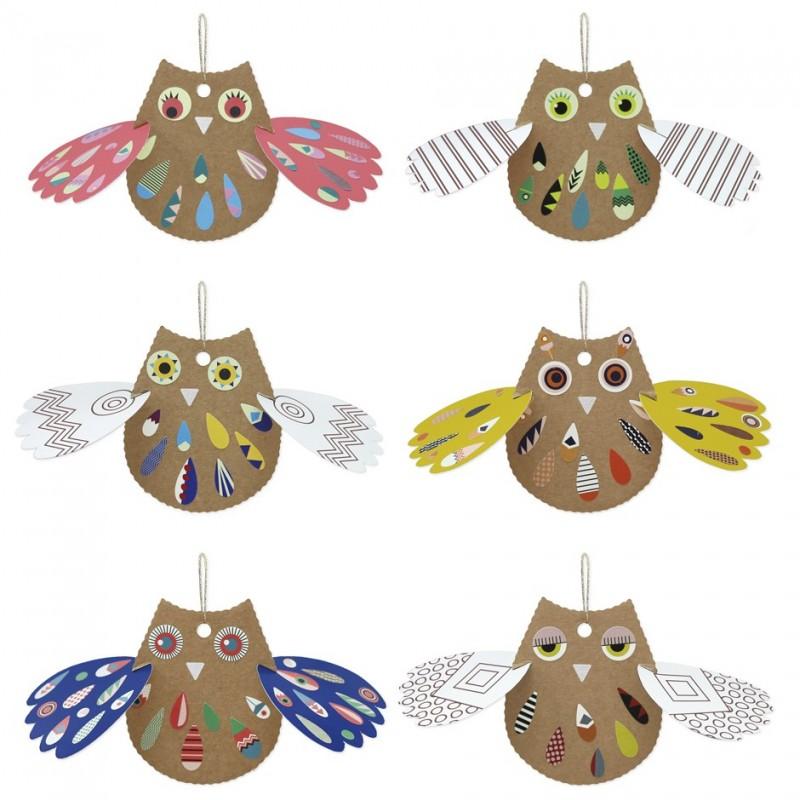recycled cardboard owls