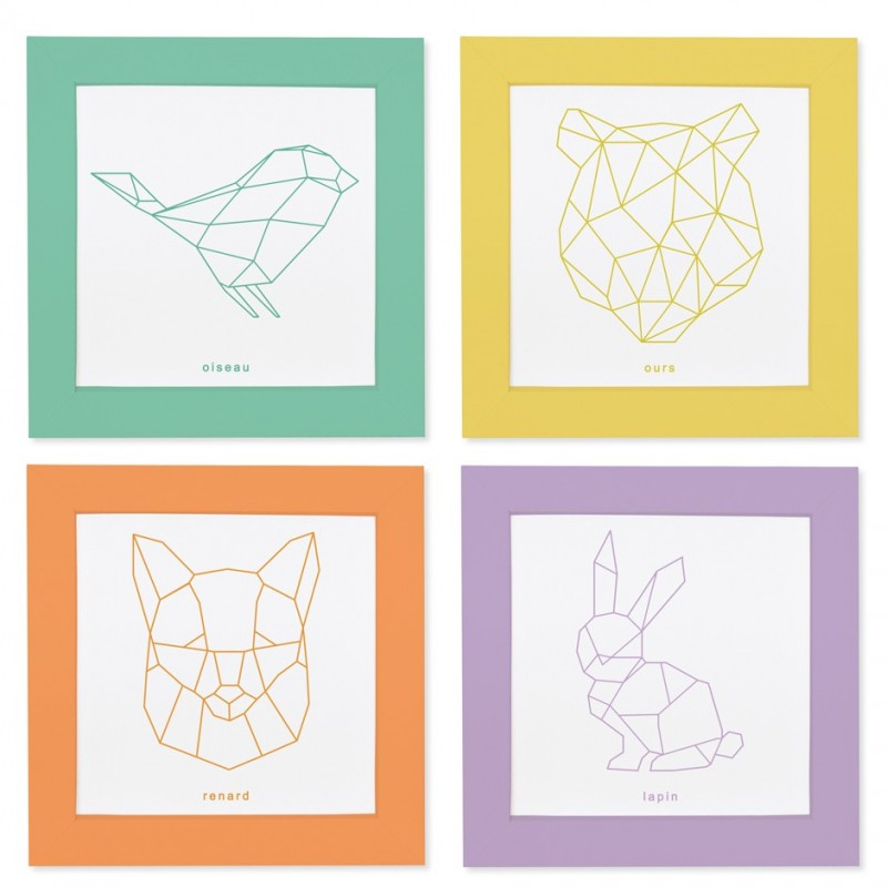cadres colorier animaux origami
